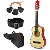"""NEW! 30"""" Left Handed Natural Wood Guitar With Case and Accessories for Kids/Boys/Beginners"""