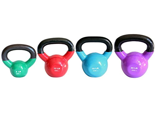 Ader Vinyl Kettlebell Set- 5, 12, 18, 20 Lb by Ader Sporting Goods