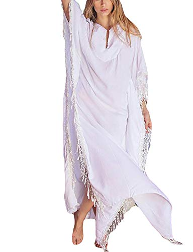 Bsubseach Women White Plus Size Bathing Suits Cover Up Tassel Loose Kaftan Beach Maxi Dress