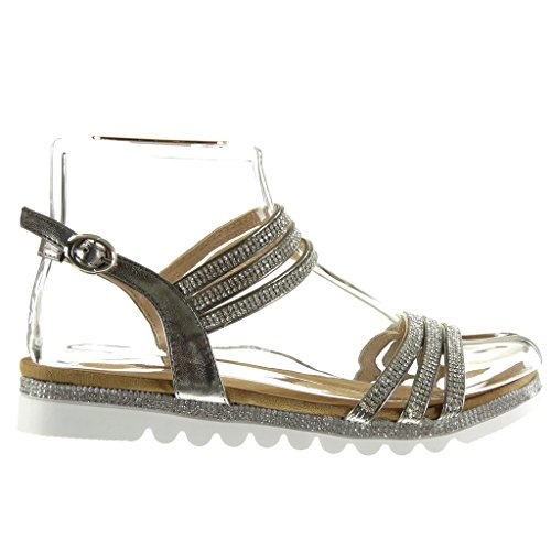 Angkorly Women's Fashion Shoes Sandals - Sneaker Sole - Thong - Multi Straps - Rhinestone Flat Heel 2.5 cm Grey zbxPc