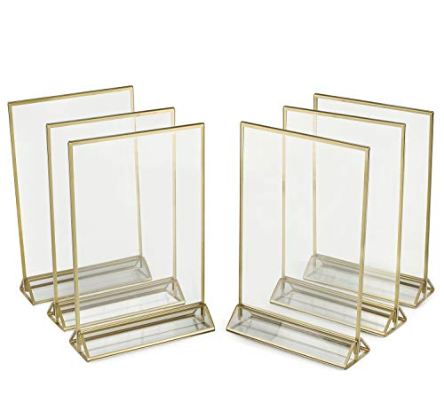 Cheap Gold Frames (Super Star Quality Clear Acrylic Double Sided Frames Display Holder with Vertical Stand and 3mm Gold Border, 5 x 7-Inches (Pack of)