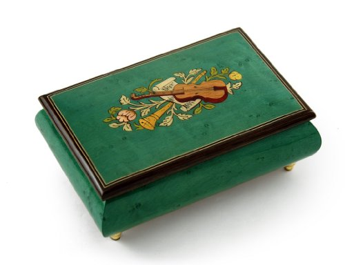 Brilliant Handcrafted Mint Green Musical Instrument Theme Wood Inlay Music Box - Over 400 Song Choices - Reich Mir Die Hand Mein Laben SWISS (Mira Box Wood)