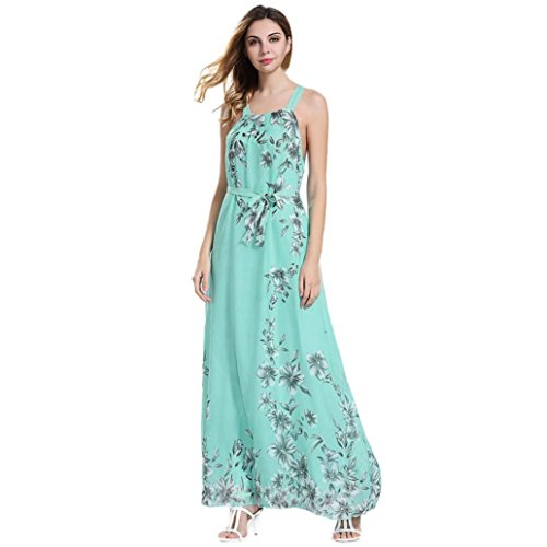 Womens Summer Sleeveless Boho Floral Print Chiffon Beach Long Maxi Dress Floor Length Dress (XXXL, Green)