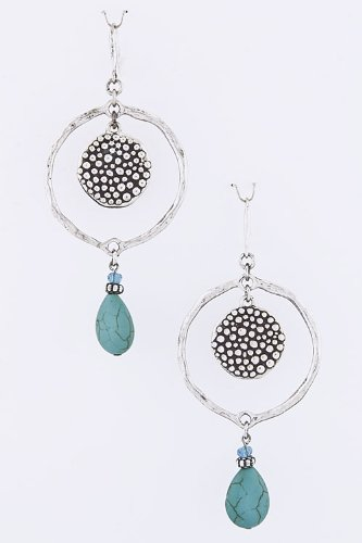 Mighty Gadget TRENDY EARRINGS - STONE DANGLE HOOP EARRINGS (Color Choices: Black, Brown, Green, Red, Turquoise,) - Random Color Selection Subject to Stock on Hand