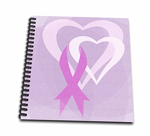 Pink Ribbon Spiral Notebook - 3dRose PS Inspirations - Pink Ribbon Hearts- Breast Cancer Awareness- Inspirational Art - Memory Book 12 x 12 inch (db_79099_2)