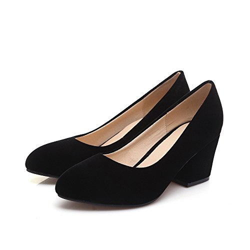 on Solid Shoes Pointed Toe Kitten Closed Black Pull Women's Heels Imitated WeiPoot Suede Pumps w6tfXtq