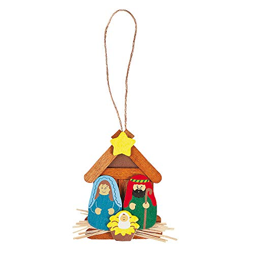 Fun Express - Nativity Ornament Craft Kit for Christmas - Craft Kits - Ornament Craft Kits - Non Foam - Christmas - 12 Pieces