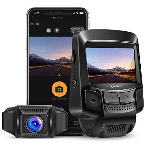 APEMAN WiFi Dash Cam Full HD 1080P Sony Sensor Dash Camera for Cars Recorder with Super Night Vision, 2.45 Inch IPS Display, Loop Recording, Motion Detection, G-Sensor, Parking Monitoring