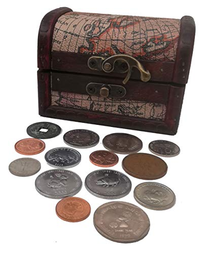 Coins - World Coins - Coin Collection - 15 Lucky Coins from Around The World + Wooden Treasure Chest