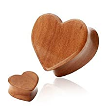 Pair (2) Cherry Wood Valentine's Day Heart Ear Plugs Double Flare Organic Tunnels Saddle Fit Ear Gauge Flesh Earring- 00G 10MM