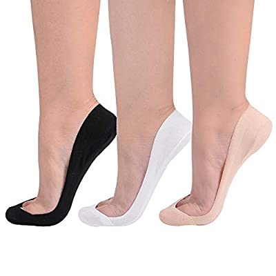 Flammi Women's TRULY No Show Socks for Flats Non Slip Cotton Ultra Low Cut Liner Socks at Women's Clothing store
