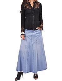 Bonita Blue Flares Long Jean Skirt