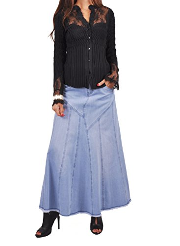 Style J Bonita Blue Flares Long Jean Skirt-Blue-34(14) ()