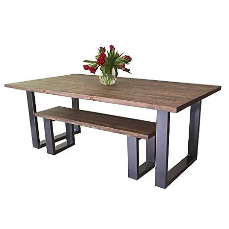 Tavolo da pranzo in legno massello naturale di pino colore marrone ...