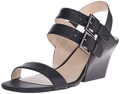 Nine West Women's Gadele Leather Wedge Sandal, Black, 36.5 B(M) EU/4.5 B(M) UK