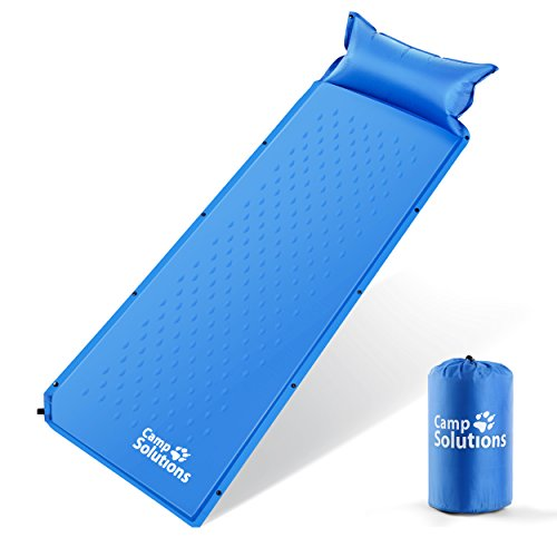 Camp Solutions Lightweight Sleeping Pad - Self Inflating Camping Pad with Built in Pillow for Camping, Hiking and Backpacking (Blue)