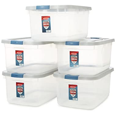 Rubbermaid Roughneck Clear Storage Container, 50 qt., Clear Base (1192), Pack of 5