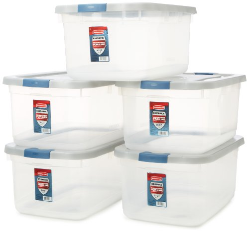 Rubbermaid Roughneck Clear Storage Container, 50 qt., Clear Base, Grey and Blue Lid, Pack of 5 (1785784)