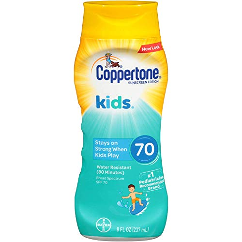 (Coppertone KIDS Water-Resistant Sunscreen Lotion Broad Spectrum SPF 70 (8 Fluid Ounce) (Packaging may vary))
