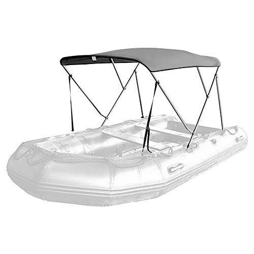 Seamander Inflatable Boat Bimini Tops,Rib Boat Cover with Mounting Hardware (Grey, 3 Bow 180 x 145 x 120cm for Rib)