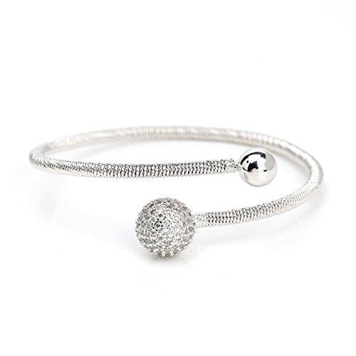 United Elegance Stylish Designer Wrap Bangle Bracelet with Sparkling Swarovski Style Crystals - Gunmetal Bracelet Bangle