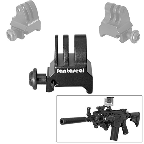 Fantaseal Picatinny Gun Rail Mount Airsoft Gun Adapter for GoPro SJCAM Garmin Virb XE Xiaomi Yi Action Camera Gun Mount Adapter Shotgun Hunting Rifle Pistol Carbine Gun AR-15 M4 M16 Camera Mount