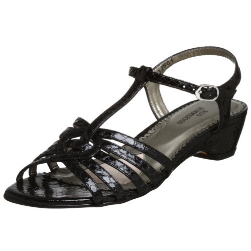 Ros Hommerson Women's Britt T-Strap Snake Sandal,Black Snake,8.5 M US