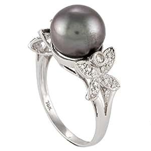 Inspire Jewels Women's 18K White Gold Diamond & Black Tahiti Pearl Ring - IJ0163, Size 6 US