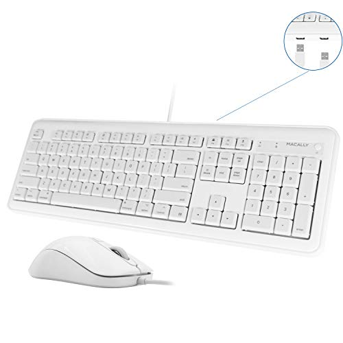 Macally Full Size USB Wired Keyboard & Mouse Combo with 2 USB-A Ports Hub & 16 Apple Shortcut Keys (Power, Sleep) for Mac OS Computer Apple iMac Pro Mac Mini MacBook Air MacBook Pro