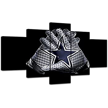MIAUEN Wall Decor Canvas Prints Wall Art Dallas Cowboys Pictures 5 Piece Posters Paintings for Living Room Framed Artwork Ready to Hang(60''Wx32''H)