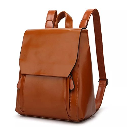 European Fashion Bags Shoulder Style PU Brown leather Backpack Backpack rqxr0zEw