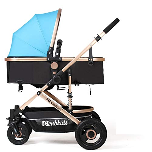 TYX-FSJ Baby Cart High Landscape Light Can Sit and Lie Down Fold Suspension Four Rounds Baby Baby Carriage Trolley Baby Cot,A