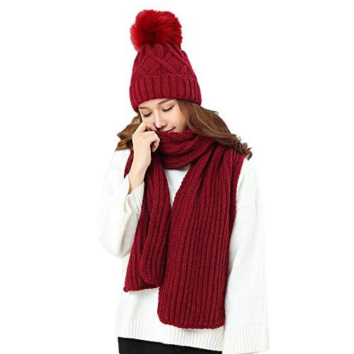 (KRATARC Cold Winter Women Warm Scarf Beanie Hat Set Kintted Fleece (Wine Red))
