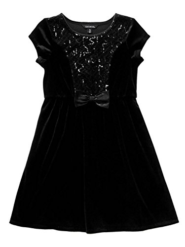 George Girl Black Velour Sequin Holiday Party Dress Special Occasion S (6-6X)
