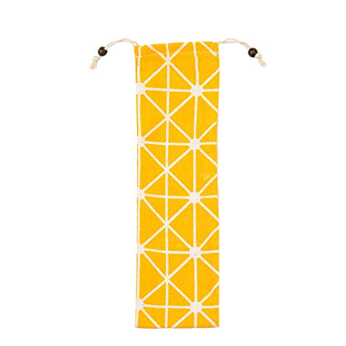 Muhuyi Straw Carrying Case, Trave Pouch for Straws, Stainless Steel Straws, Glass Straws, Silicone Straws, Fork, Spoon, Cutlery (Yellow triangle)