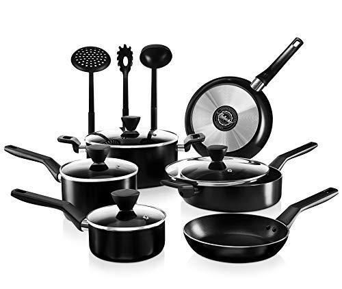 NutriChef 13-Piece Nonstick Cookware PTFE/PFOA/PFOS Free Heat Resistant Kitchen Ware Set w/Saucepan, Frying Pans…