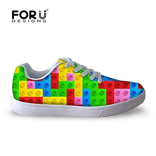 Per Te Disegni Moda Multicolor Puzzle Box Tetris Uomini Casual Scarpe Da Skate Colore 2