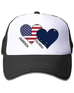 America Alaska Flag Heart On Kids Trucker Hat, Youth Toddler Mesh Hats Baseball Cap