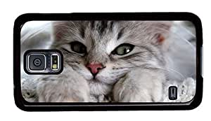 Hipster Samsung Galaxy S5 Case cool covers cute kitty PC Black for Samsung S5