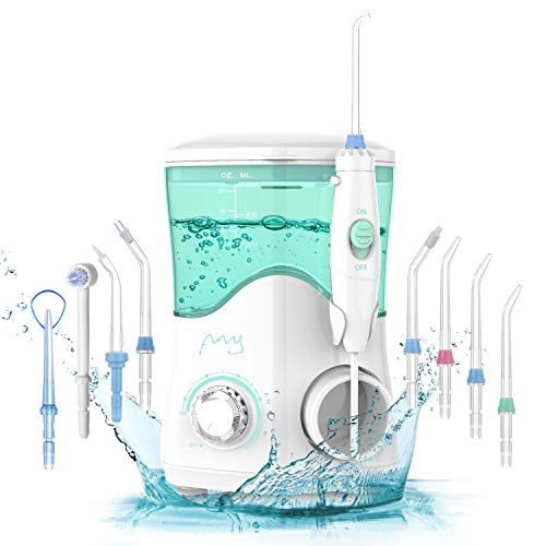 Dental Water Flosser, Water Pick, FFY Water Pick Teeth Cleaner 2020, Water Dental Flosser for Teeth Braces, 600ml Electric Oral Irrigator,10 Levels Pressures & 8 Replaceable Jet Tips for Family, White