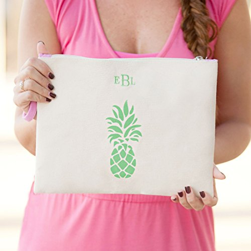 Palm Pineapple Zip Personalized Be Can Pouch Personalized Coast Canvas Monogrammed r7wqrg