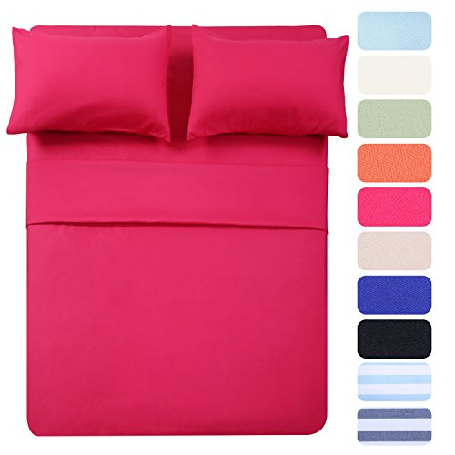 4 Piece Bed Sheet Set (Queen,Hot Pink) 1 Flat Sheet,1 Fitted Sheet and 2 Pillow Cases,100% Super Soft Brushed Microfiber 1800 Luxury Bedding,Deep Pockets &Wrinkle,Fade Resistant by Homelike - Pink Bedding Hot
