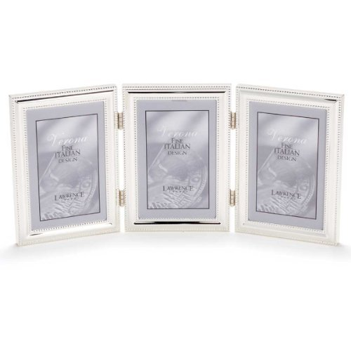 Lawrence Frames Hinged Triple (Vertical) Metal Picture Frame Silver-Plate with Delicate Beading, 5 by 7-Inch by Lawrence ()