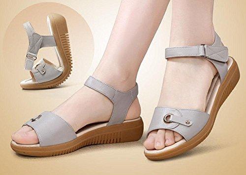 QL@YC Frauen Sandalen Sommer Flache High Heels Leder Soft Skid Anti Skid Großes Kleid Frauen Schuhe , white , 35