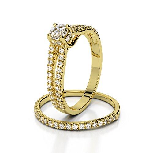 Or jaune 18carats 1CT G-H/VS sertie de diamants Coupe ronde de mariage Bague de fiançailles et ensemble de Agdr-2035