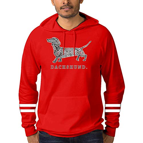 Dachshund Red Fleece - Men's Pullover Hoodie Cotton Pocket Fleece Fleece Print Dachshund Red S