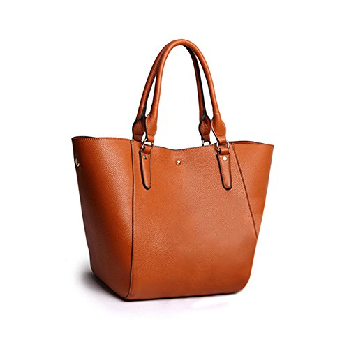 Women faux suede tote bags handbag big size(Brown) - 2