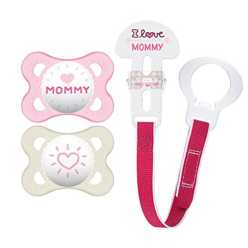 """MAM Pacifier and MAM Pacifier Clip Value Pack (2 Pacifiers & 1 Clip), Pacifiers 0-6 Months, Baby Girl Pacifier """"I Love Mommy"""" Design, Baby Pacifier Clips"""