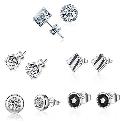 MissDaisy 5-9 Pairs S925 Sterling Silver Crystal Stud Earrings Mix Style Earring Set for Men, Women, Boys and Girls (5 ()