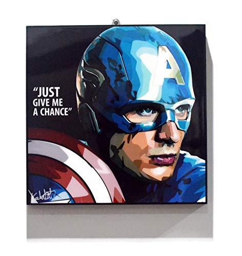 (Pop Art Superhero Quotes - Captain America Marvel Avengers Framed Acrylic Canvas Poster Prints Artwork Modern Wall Decor, 10